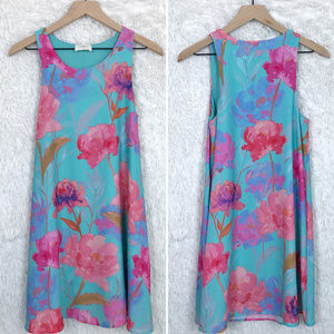 Everly   Blue Pink Watercolor Floral Shift Dress S